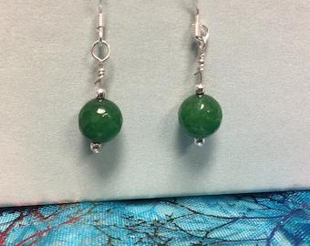 Faceted Jade Dangle Earrings; Sterling Silver Dangle Earrings; Petite Earrings; Jade Minimalist Earrings; Handmade Jewelry,