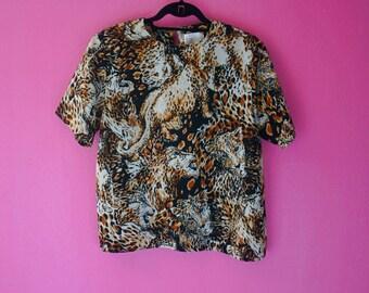 80s Leopard Print Funky Wild Cat Blouse