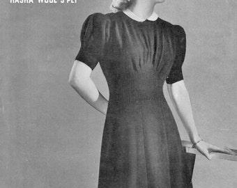 PDF Knitting Pattern for a 1940's Wartime Fashion Elegant Dress  - Instant Download