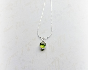 Peridot Necklace, Sterling Silver Peridot Pendant, August Birthstone, Gifts for Her, Gifts under 25, Peridot Gemstone