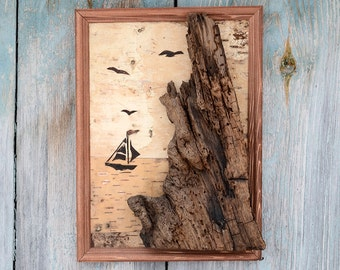 Boat wall art, Nautical wall art, Boat decor, Abstract wood art, Branch wall art, Abstract wood wall art, Branch wall decor, Rustic wall art