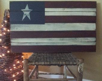 Large Primitive American Flag Wooden Sign