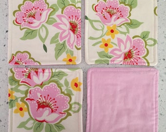 Drink Coasters - Set of 4 - Pink Flowers on White