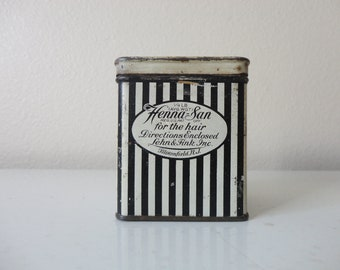 VINTAGE 1920s black and white hair product TIN - henna-san for the hair - lehn and fink inc. - bloomfield, new jersey