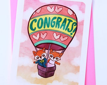 Fox in Balloon Wedding Congrats -Congrats Card Wedding Congratulations card Wedding Card Marriage Card Cute wedding congrats card Engagement