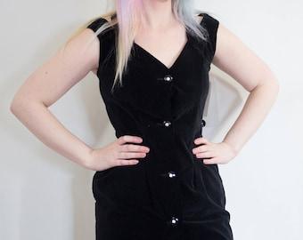 VICKY VAUGHN  1980s DEADSTOCK Velvet Sheath Dress, 80s does 50s, black velvet dress, vintage 80s, Vicky Vaughn Dress, Wiggle, pin up, goth