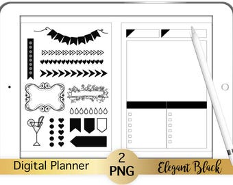 2 Digital Planner Stickers Pages Elegant Black  transparent pngs