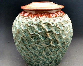 Lidded Urn with Shell Design - Made to Order