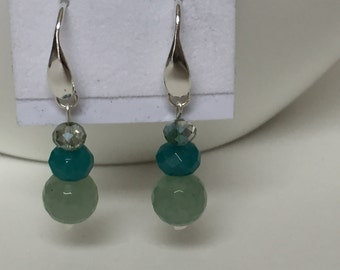 Sterling and Teal Green Chalcedony drop earrings -