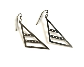 "Silver triangle laser cut dangly earrings 1.5"" niobium ear wires for sensitive ears"