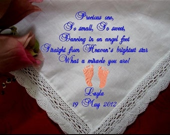 One of a Kind, Personalized Baby Christening Heirloom, hankie w tiny feet. Handkerchief that will be cherished and given through generations