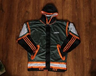 ADIDAS track jacket, vintage full zip hip hop jacket, 90s hip-hop clothing 1990s gangsta rap old school windbreaker Run DMC size M Medium D5