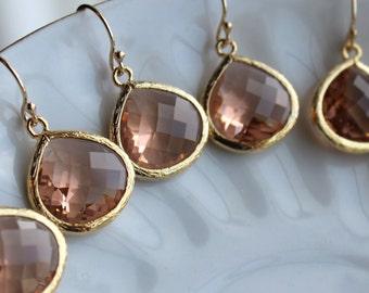 15% OFF SET OF 9 Wedding Jewelry Large Champagne Blush Earrings Gold Peach Pink - Wedding Earrings Bridal Earrings Bridesmaid Earrings