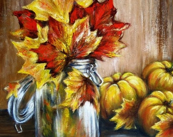 Autumn still life original oil painting on canvas yellow leaves and pumpkins painting art work Autumn oil on canvas wall art hand signed