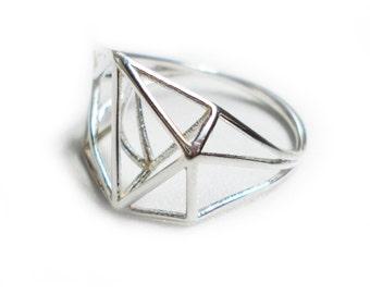 Geometric Minimalist Ring in Sterling Silver