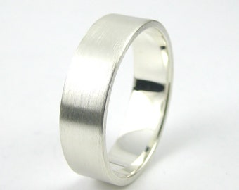 Brushed Sterling Silver Ring, Wide Simple Band, Wedding Band, Thumb Ring, Sterling Silver Jewellery 925