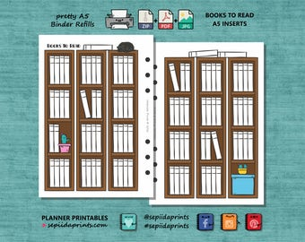 Books To Read A5 Printable Planner Inserts, Instant Download