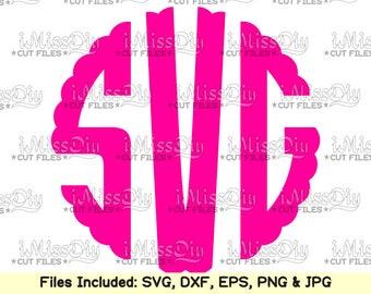 Circle monogram font svg Scalloped monogram svg Alphabet Letters svg frame svg files for Cricut Silhouette design Digital Fonts Dxf cut file