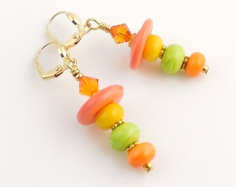 Orange and Green Beaded Lampwork Earrings, Fashion Jewelry, Jewelry Accessories, Gifts, Citrus Color
