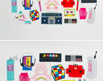 80s Party Decorations, 80s Photo Booth Props Printable, 80s banner, 80s cupcake toppers | INSTANT DOWNLOAD