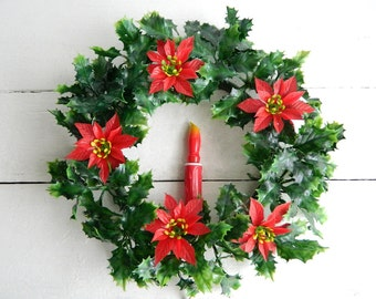 Vintage Electric Poinsettia Holly Wreath with Drip Candle Light - Holiday Front Door Decoration - Red & Green