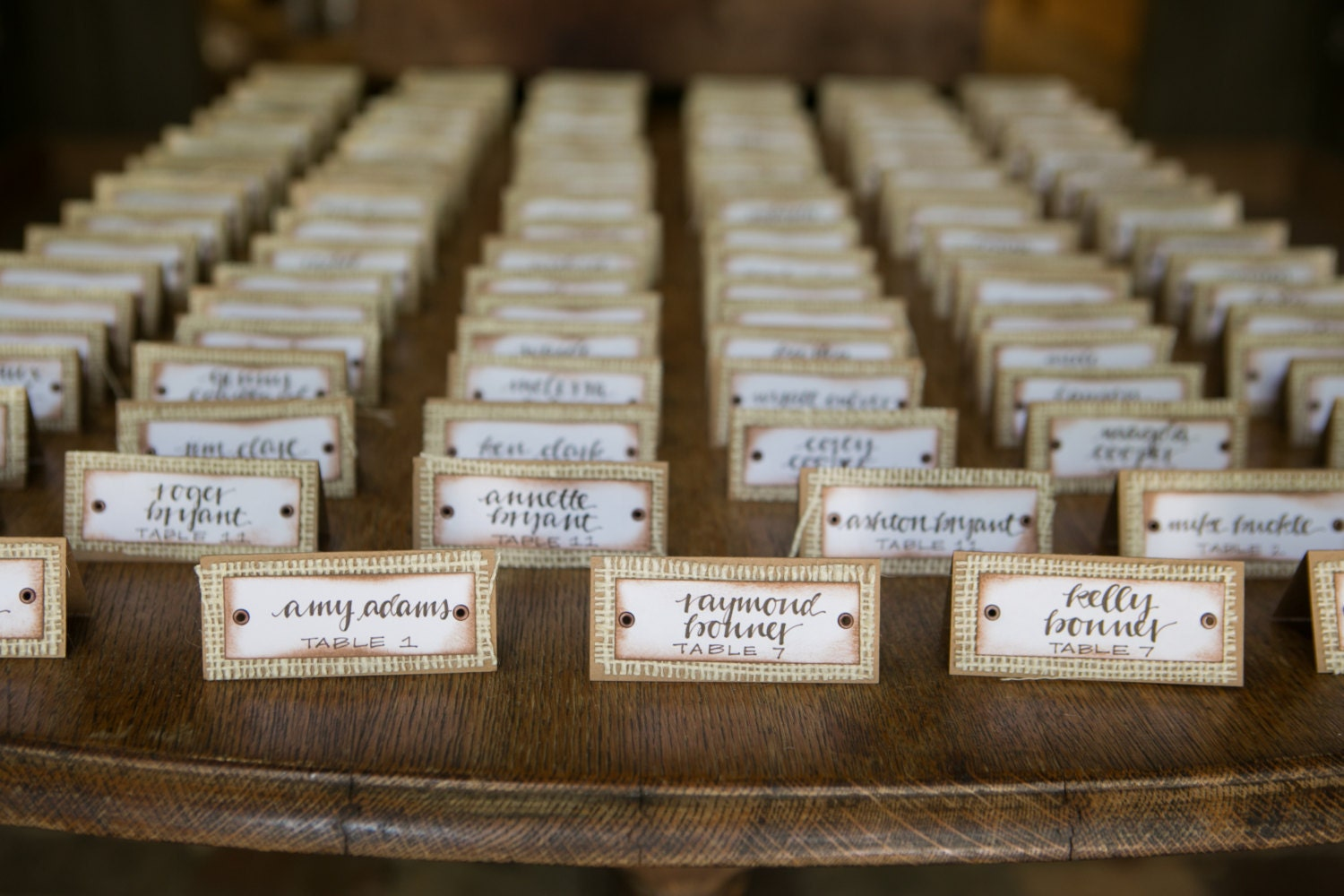 Rustic Place Cards Set of 25. Burlap Wedding. Wedding Table