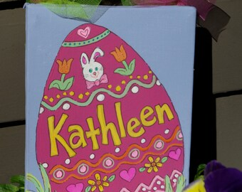 Hand Painted, Personalized and  Decorated Easter Egg on 5x7 Canvas
