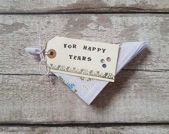 wedding favor handkerchief For Happy Tears favour cotton gift floral hankie bridesmaids, mother of the bride