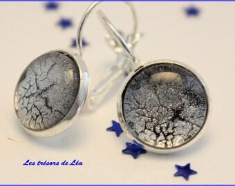 Earrings sleepers Crackle effect