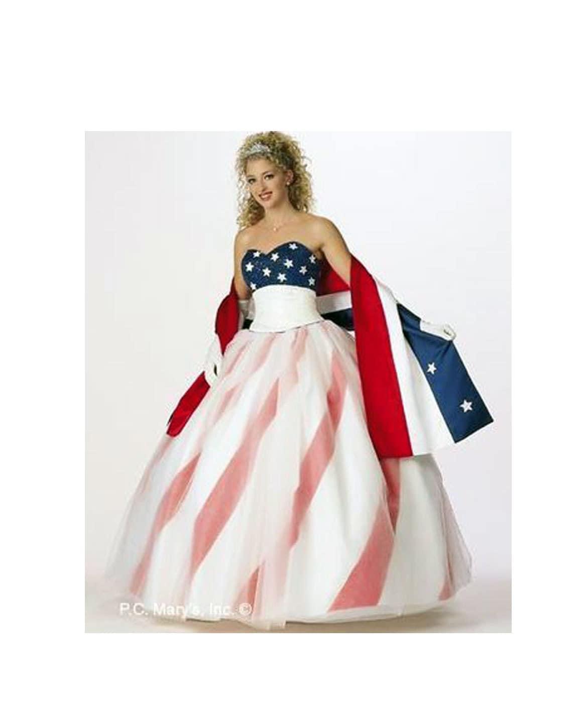Pageant RWB American flag Dress USA Flag dress Patriotic gown