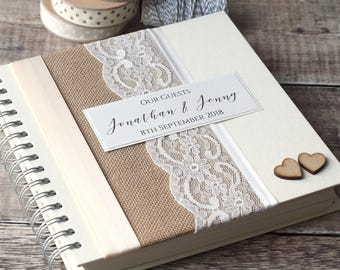 Hessian & Lace Personalised Wedding Guest Book. Handmade with Rustic Burlap and Vintage Ivory Lace with Wooden Hearts