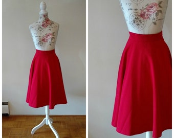 vintage 1950s style red swing skirt