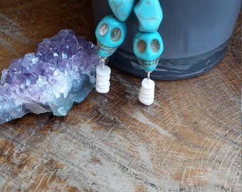Genuine Turquoise and Puka Shell, Sterling Silver Plated Earrings! ~Boho, Witch, Mystic, Jewelry