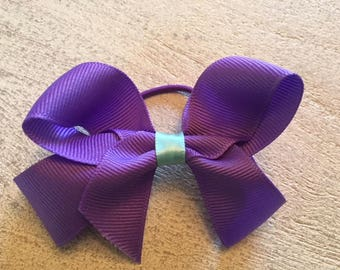 Purple Bow Hair Tie