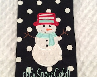 Black and White Polkadot Snowman Tea Towel/tea towel/holiday towel/snowman/snowman towel/snowman tea towel/kitchen towel/personalized towel