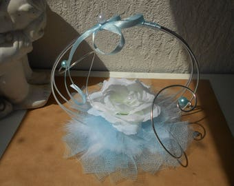 Wedding ring pillow - white and sky blue with white rose