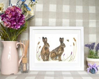 Hares in meadow Limited edition print