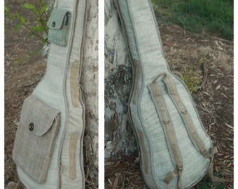 Unique Hemp Guitar Case, Handmade Acoustic Linen and Hemp Guitar Bag Backpack, Pure Natural Raw Vegan Materials