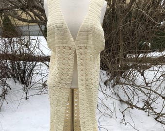 Hand Crocheted Duster, Size Medium to Large Long Vest, Delicate White Cover Up, Vintage Frock, Shabby Chic Wrap