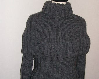 Hand knitted sweater, winter sweater, split sweater, unique clothing