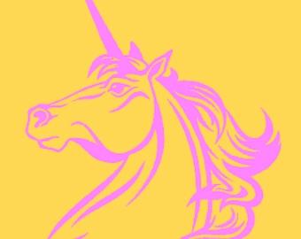 Unicorn Head Vinyl Wall Art Sticker Silhouette with Free Postage