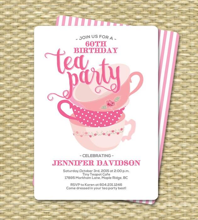 Birthday Tea Party Invitations Birthday Tea Party Invitation