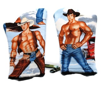 Handmade Oven Mitts set of 2 Hot Cowboys