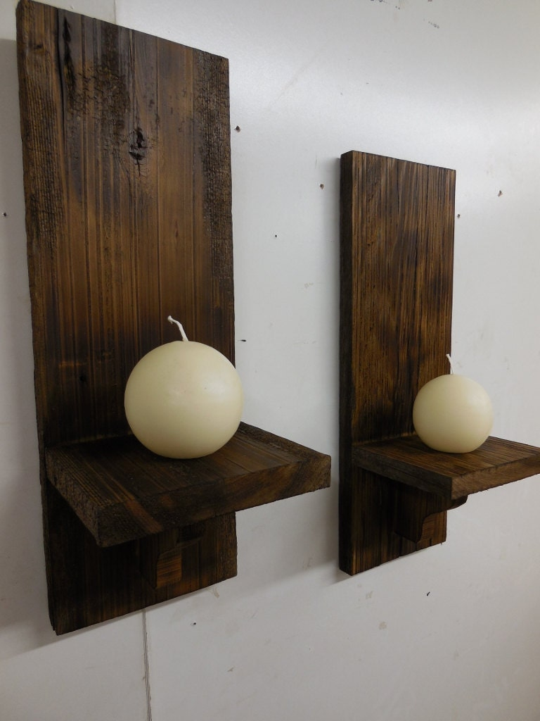 Rustic Wall Sconces Primitive candle holdersWooden Sconces