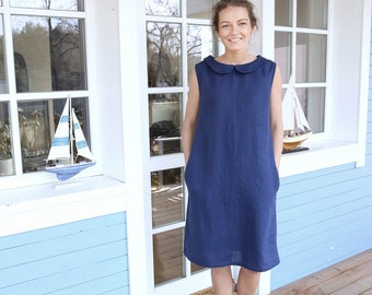 Peter Pan Collar Linen Dress / Minimal Dress / Summer Tunic / Date Dress / Dress with Pockets / Dress with Belt / Classic Linen Dress