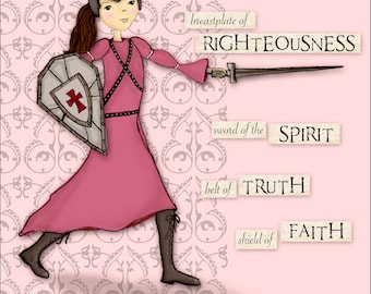 Warrior Girl - Full Armor of God - Scripture Art Print - Pink Background