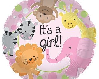 Adorable Pink Jungle Safari Babies Baby Girl Shower Or New Baby Balloon - Matching Tableware In This Shop!