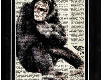 298 monkey/chimpanzee/primate/art print/vintage dictionary art print/upcycle image
