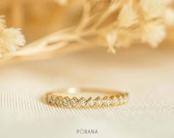 WEAVE | Diamond Band ring in 14K/18K gold, platinum, stacking ring