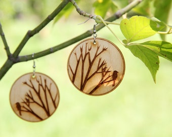 Tree Branch Earrings, Wooden Earrings, Printed Painting, Nature Earrings, Mother's Day Gift, Wooden Jewelry